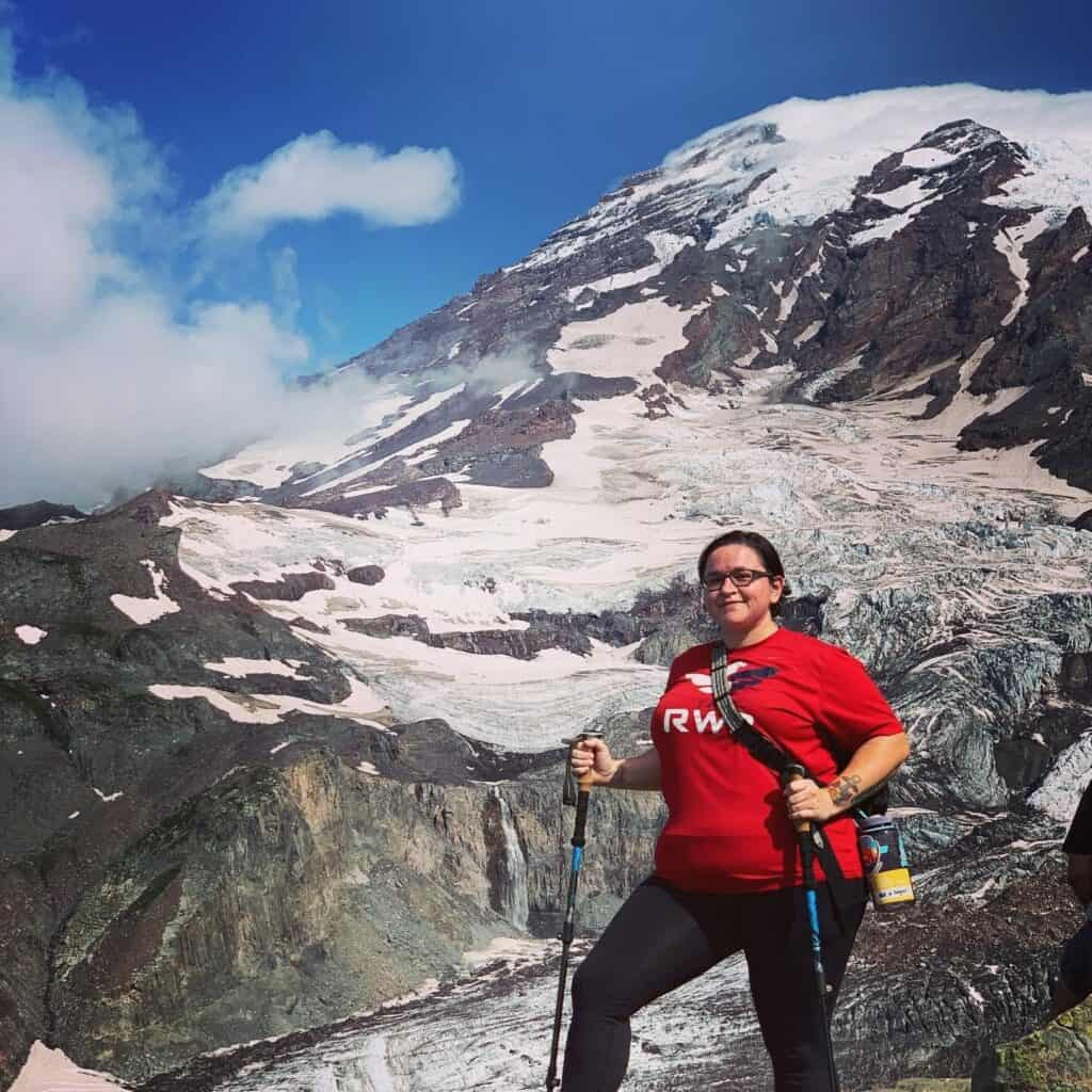 dental patient Tori hiking in the mountains